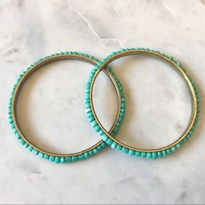 Anthropologie Turquoise Beaded Bangle Bracelets